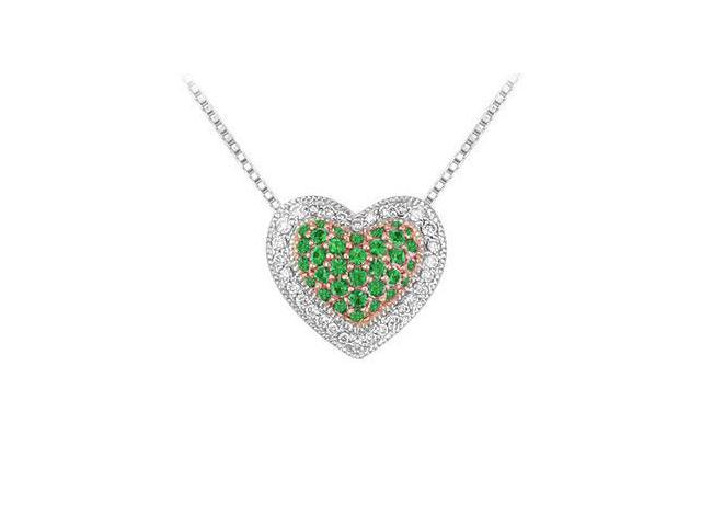 Emerald and Diamond Heart Pendant  14K White Gold - 0.75 CT TGW