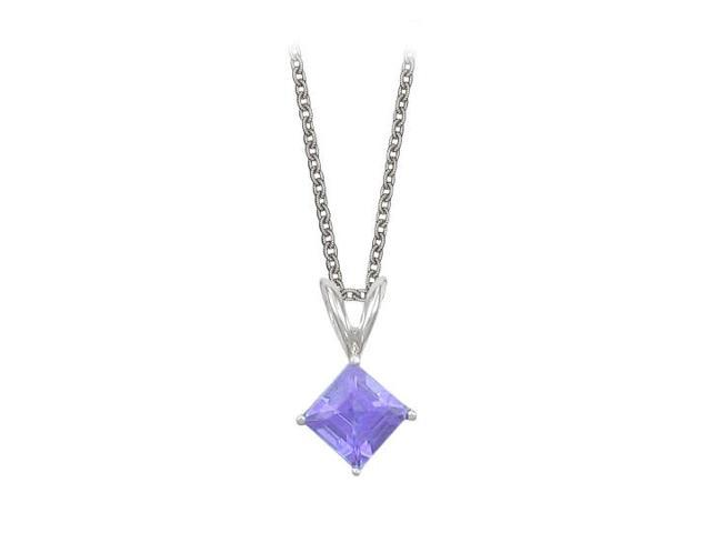 Square Cut Created Tanzanite Pendant Necklace in Sterling Silver. 1ct.tw.