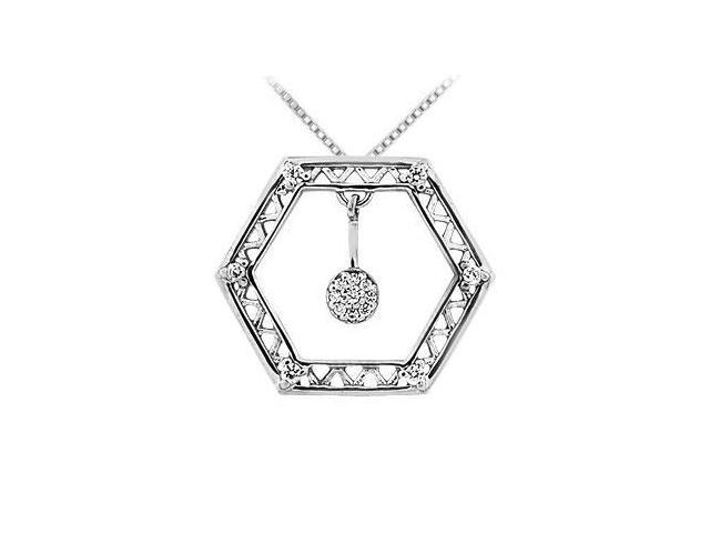 Diamond Geometric Design Pendant  14K White Gold - 0.15 CT Diamonds
