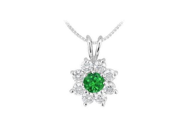 Emerald and Diamond Flower Pendant  14K White Gold - 0.75 CT TGW