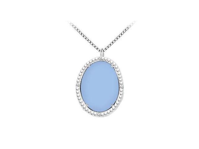 10K White Gold Aqua Chalcedony and Diamond Pendant 15.08 CT TGW