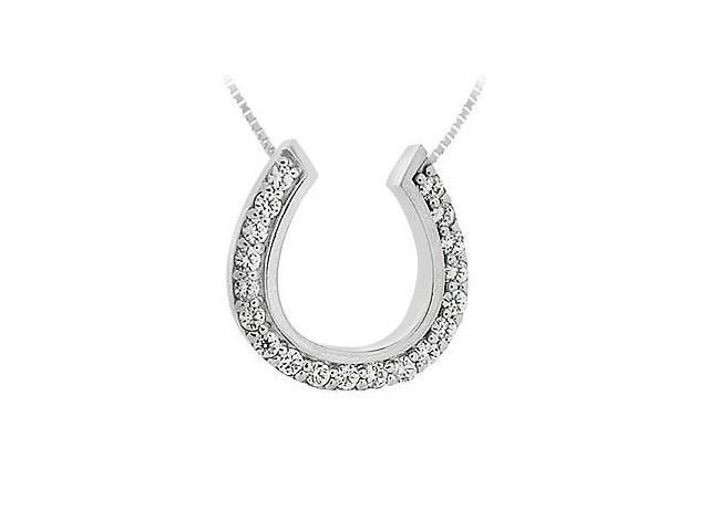 Diamond Horseshoe Pendant  14K White Gold - 0.50 CT Diamonds