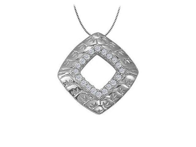 Cubic zirconia square shaped pendant in Sterling Silver 0.10 CT TGWPerfect Jewelry Gift