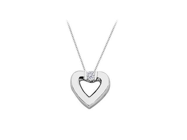 CZ Heart Pendant Necklace in Sterling Silver 0.10.ct.tw