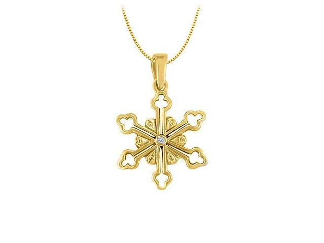 Diamond Flower Shaped Pendant in 14K Yellow Gold 0.01 CT TDWJewelry Gift for Women