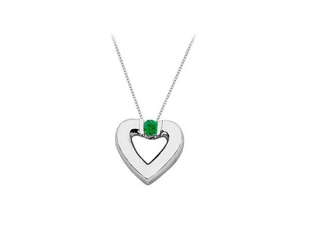 Created Emerald Heart Pendant Necklace in Sterling Silver 0.10.ct.tw