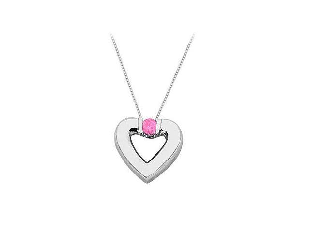 Created Pink Sapphire Heart Pendant Necklace in Sterling Silver 0.10.ct.tw