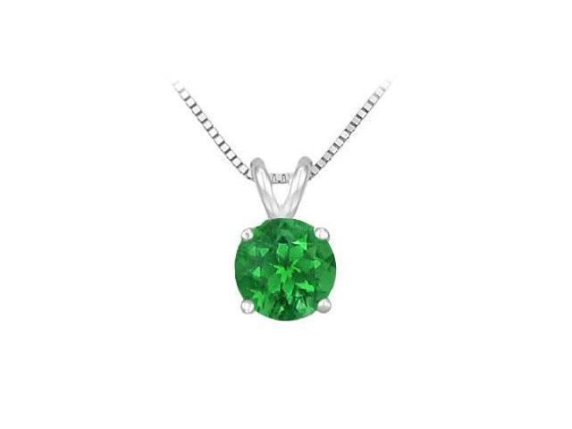 14K White Gold Prong Set Natural Emerald Solitaire Pendant 0.75 CT TGW