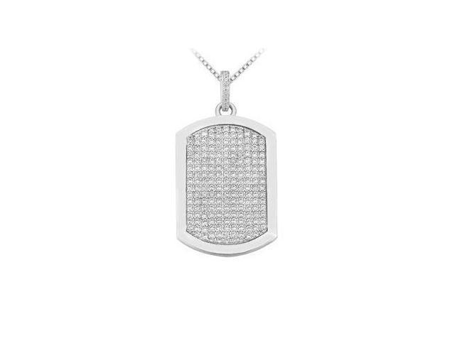 Diamond Dog-tag Pendant  14K White Gold - 4.00 CT Diamonds
