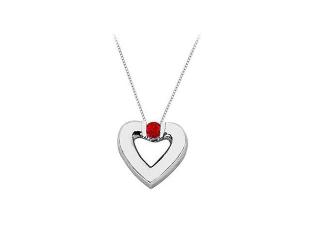 Created Ruby Heart Pendant Necklace in 925 Sterling Silver 0.10.ct.tw