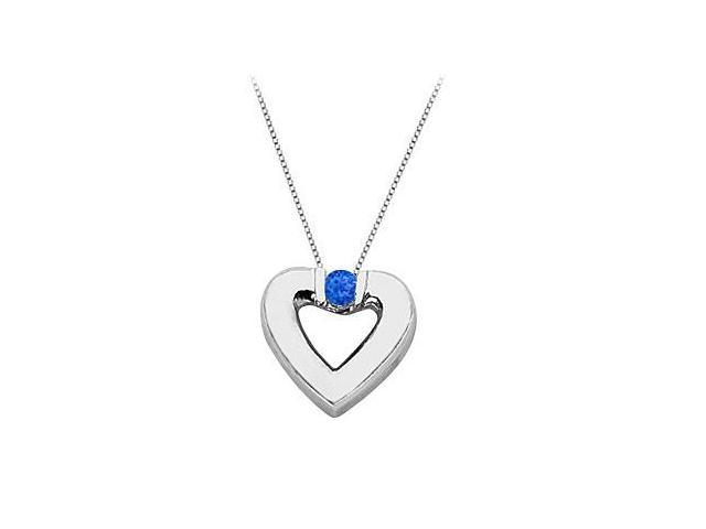 Created Sapphire Heart Pendant Necklace in 925 Sterling Silver 0.10.ct.tw