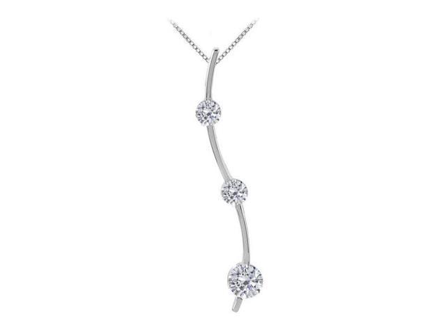 Three Stone CZ Journey Pendant in Sterling Silver White Gold 0.33.ct.tw
