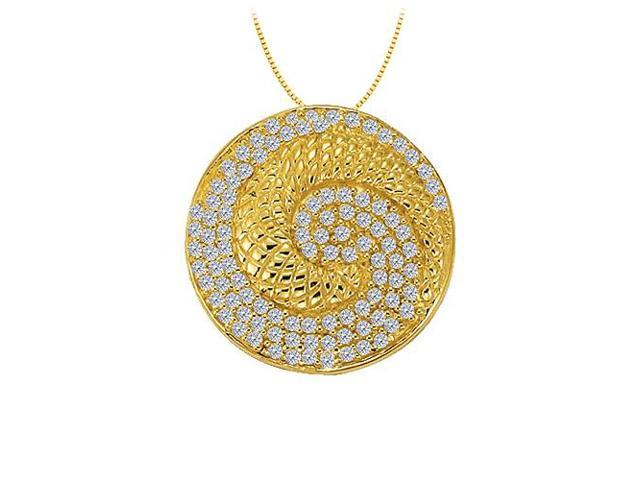 Diamond Circle Fancy Fashion Pendant in 14K Yellow Gold 0.50 CT TDW with 14K Yellow Gold Chain