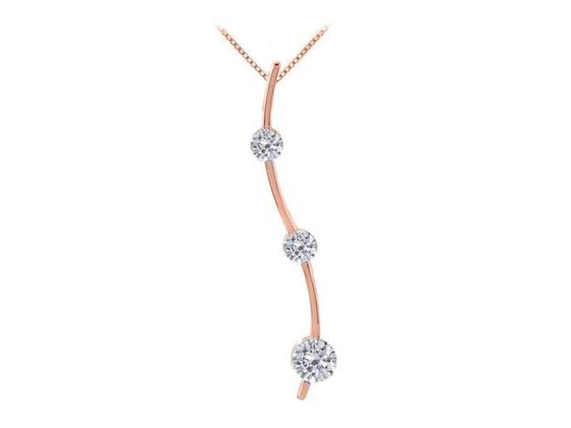 Three Stone CZ Journey Pendant in 925 Sterling Silver over 14K Rose Gold Vermeil 0.33.ct.tw