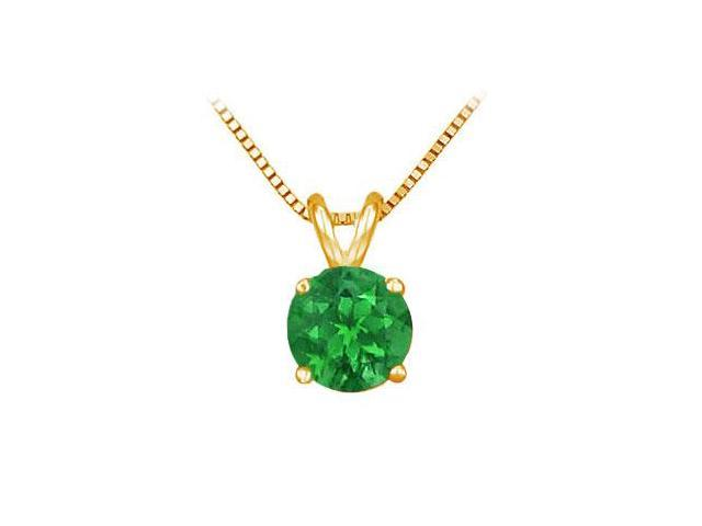 14K Yellow Gold Prong Set Natural Emerald Solitaire Pendant 0.50 CT TGW