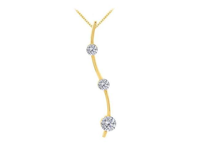 Three Stone CZ Journey Pendant in 925 Sterling Silver over 18K Yellow Gold Vermeil 0.33.ct.tw