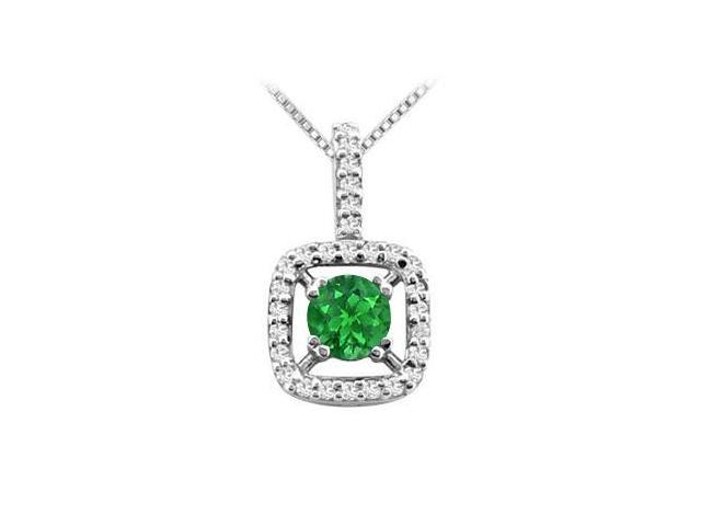 Frosted Emerald and Cubic Zirconia Pedant in 14K White Gold 2.50 Carat TGW