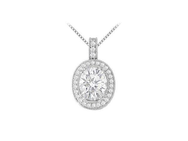 Oval and Round Cubic Zirconia Pendant in 14K White Gold 3.75 Carats TGW