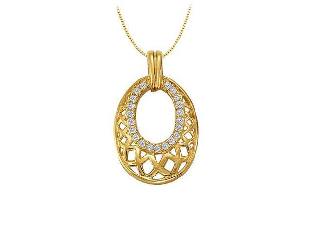 Diamond Oval Shaped Pendant in 14K Yellow Gold 0.25 CT TDWPerfect Jewelry Gift for Women