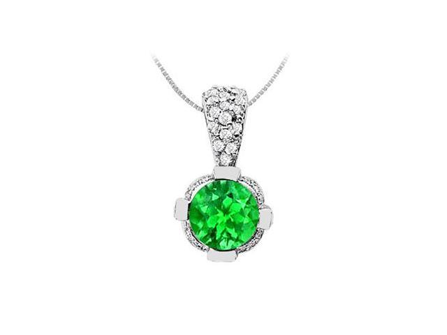Frosted Emerald and Cubic Zirconia Pendant in 14K White Gold 2.20 Carats TGW