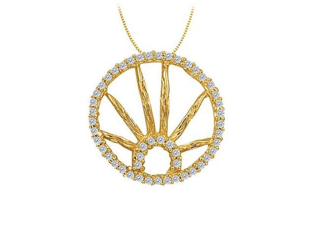 Diamond Circle Fashion Pendant in 14K Yellow Gold 0.25 CT TDWJewelry Gift for Women