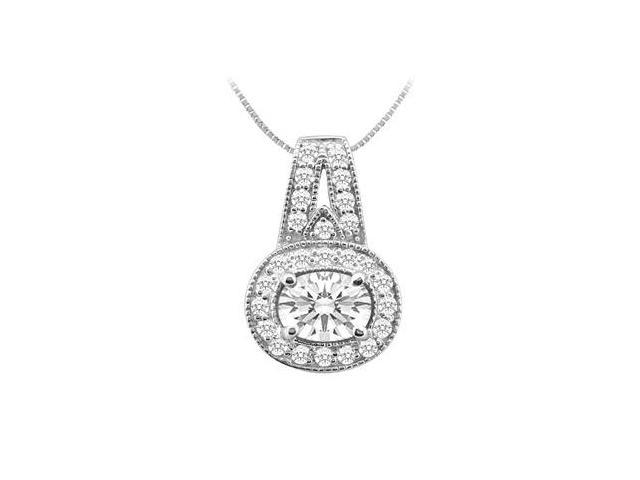 14K White Gold Pendant with Oval and Round Cubic Zirconia 1.00 Carat TGW