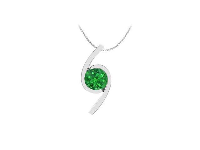 Polished 14K white Gold with Round Natural Emerald Pendant 0.50 Carat TGW