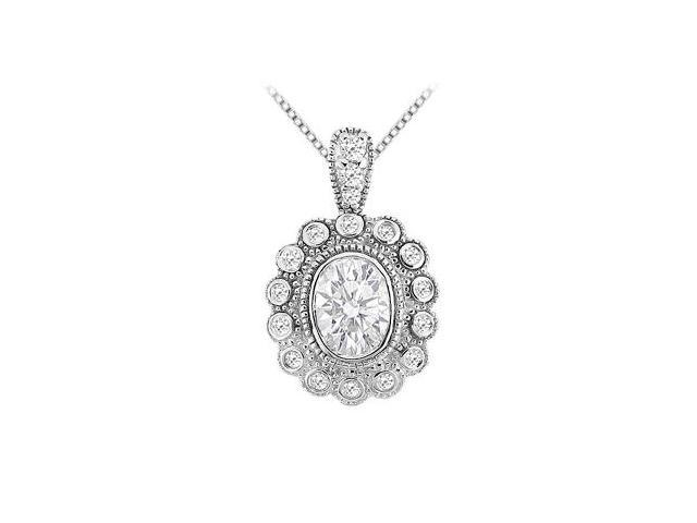 Bezel Set Oval and Round Cubic Zirconia Pendant in 14K White Gold 1.00 Carat TGW
