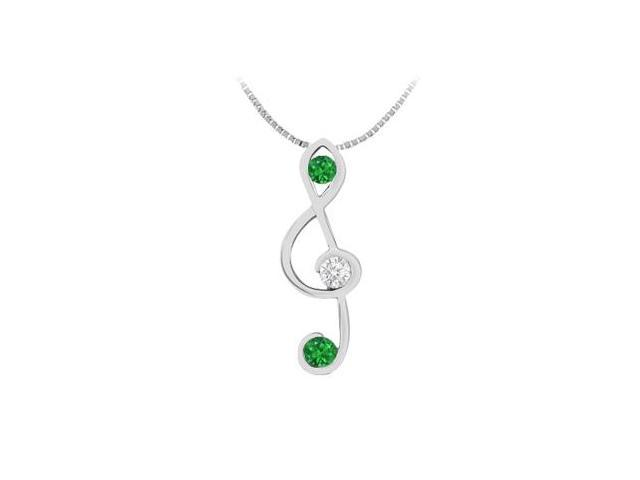 Diamond and Natural Emerald Music Note Pendant in 14K White Gold 0.25 Carat TGW