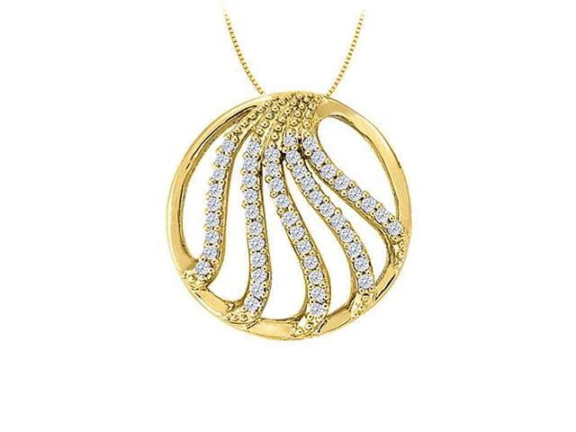 Diamond Fancy Circle Fashion Pendant in 14K Yellow Gold 0.50 CT TDWJewelry Gift for Women