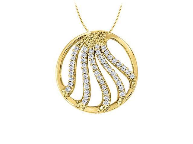 Diamond Fancy Circle Fashion Pendant in 14K Yellow Gold 0.50 CT TDWJewelry Gift for Women