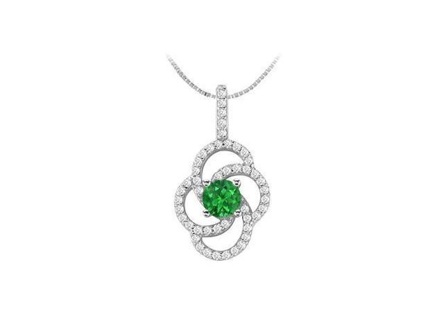 Flower Design Natural Emerald and Diamond Pendant in 14K White Gold 1.00 Carat TGW