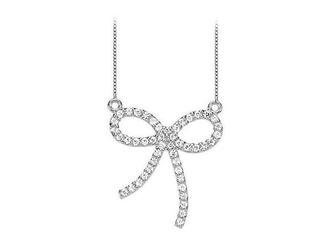 CZ Bow Pendant in 925 Sterling Silver 0.50.ct.tw
