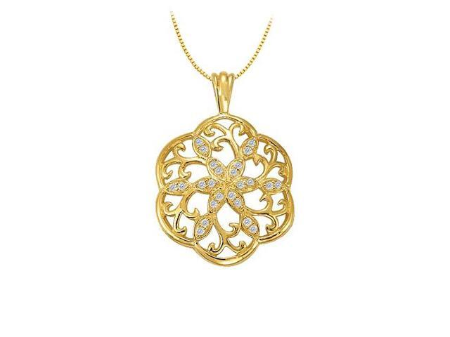 Diamond Fancy Circle Fashion Pendant in 14K Yellow Gold 0.25 CT TDWJewelry Gift for Women