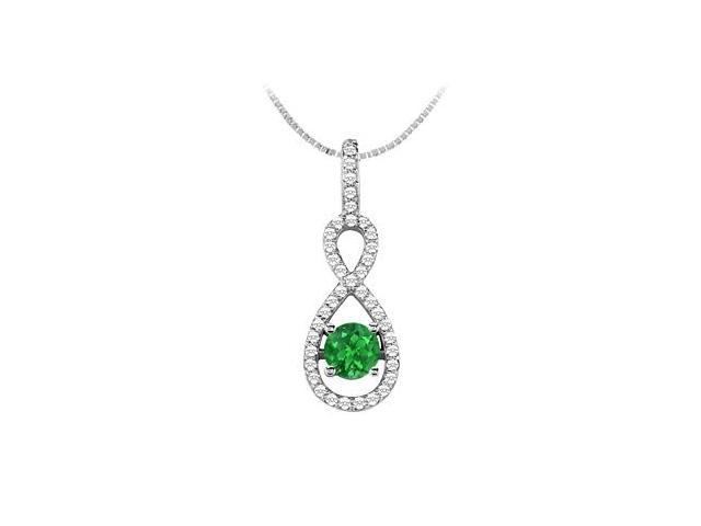 Natural Emerald and Diamond Pendant in 14K White Gold 1.00 Carat TGW