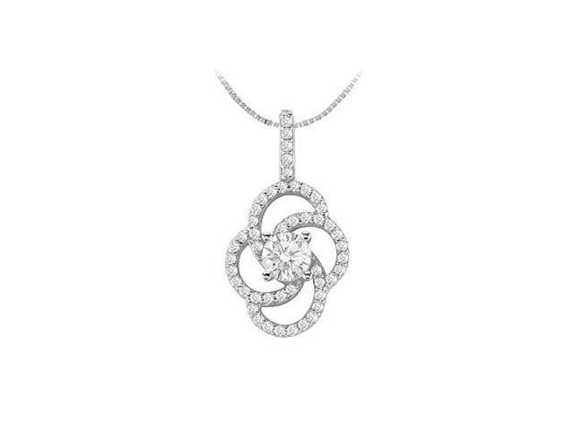 Flower Design Pendant with Cubic Zirconia in 14K White Gold 1.50 Carat TGW