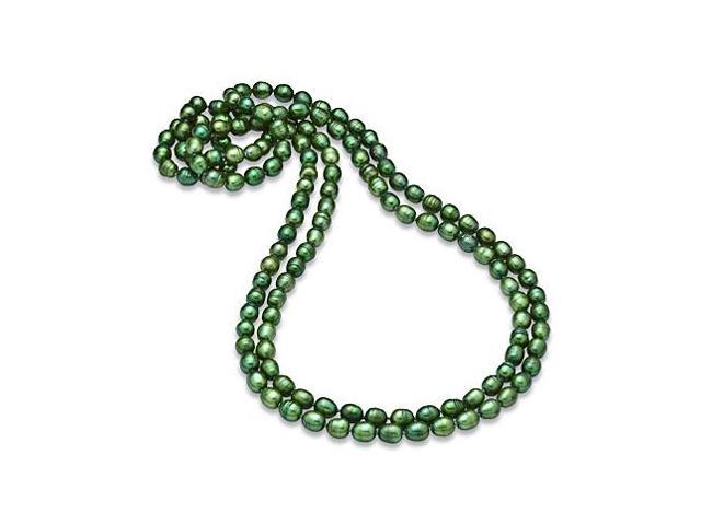 80 Inches Strand Necklace of Green Freshwater Cultured Pearl  8.5MM