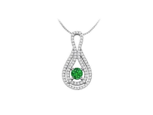 Diamond and Natural Emerald Pendant in 14K White Gold 1.25 Carat TGW