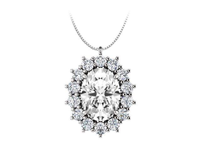 Oval CZ Halo Pendant in 925 Sterling Silver 1.25.ct.tgw
