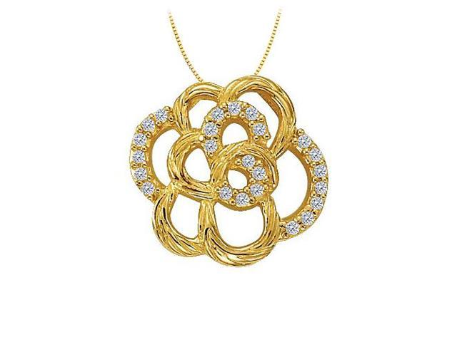 Diamond Flower Shaped Pendant in 14K Yellow Gold 0.25 CT TDWJewelry Gift for Women