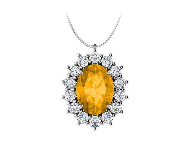 Oval Citrine and CZ Halo Pendant in  925 Sterling Silver 1.25.ct.tgw