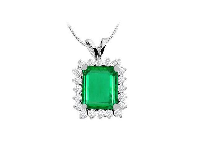 Frosted Emerald and CZ Pendant in 14K White Gold 7.00 Carat TDW