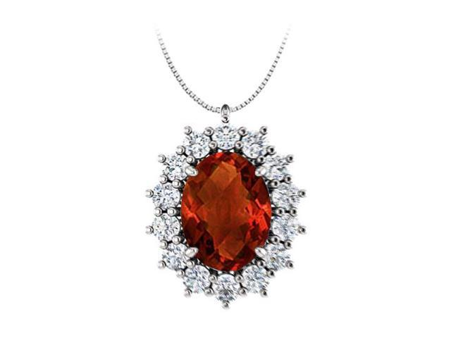 Oval Garnet and CZ Halo Pendant in 925 Sterling Silver 1.25.ct.tgw