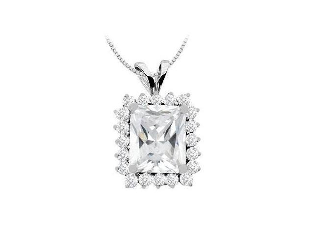 Emerald Cut 12x10 mm Cubic Zirconia Pendant in 14K White Gold 9 Carat TGW