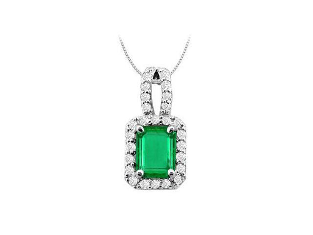 Emerald Cut Frosted Emerald and Cubic Zirconia Pendant in 14K White Gold 3.50 Carat TGW
