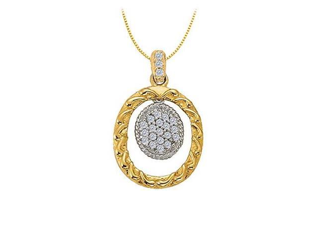 Diamond Oval Pendant in  Two Tone 14K Gold 0.10 CT TDWPerfect Jewelry Gift for Women