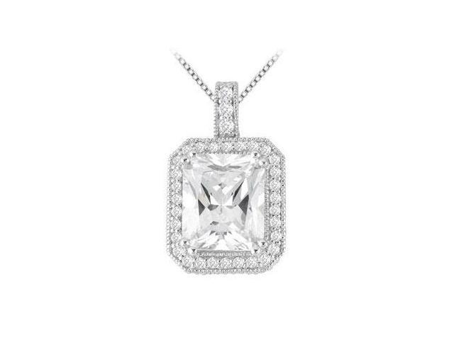 CZ Emerald Cut  with round CZs Pendant in 14K White Gold 7.35 Carat TGW
