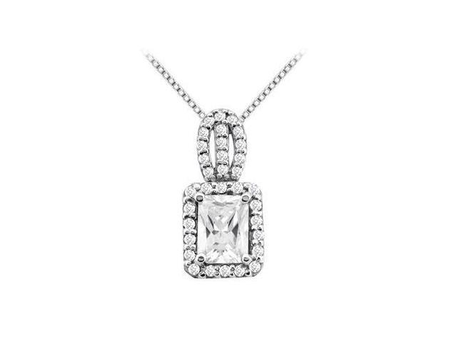 3 carat emerald cut and round CZ pendant with 3.50 carat tgw in 14k white gold