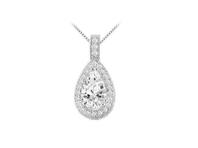 White Gold 14K with Pear Shape and Round Cubic Zirconia 4.50 Carat Pendant