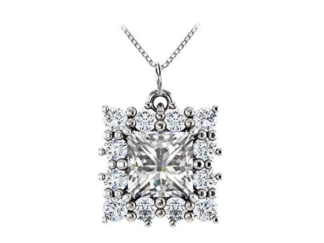 Square Halo CZ and Cubic Zirconia Pendant in 925 Sterling Silver 0.75.ct.tw